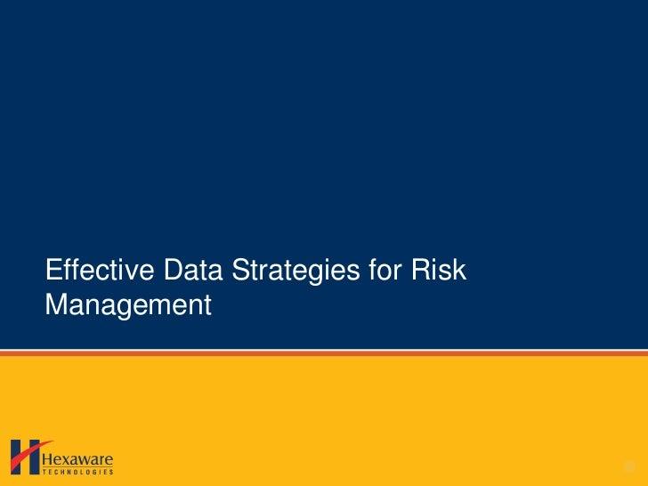 Data strategies for risk management