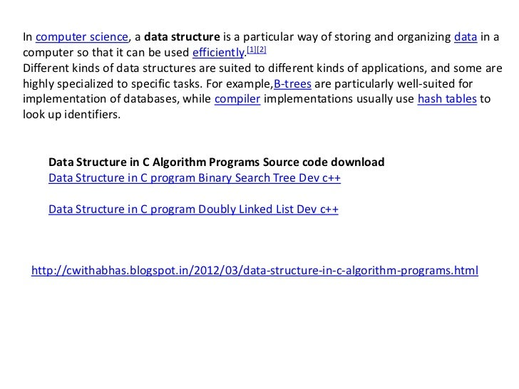 Data structure in c algorithm programs source code download