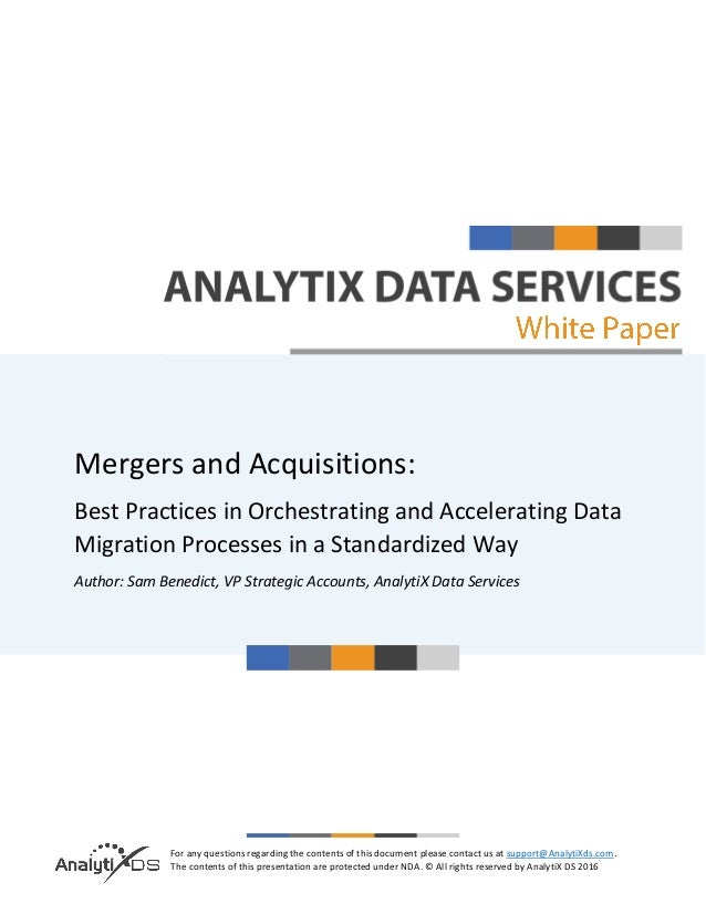 Data Migration in Mergers & Acquisitions - A Whitepaper