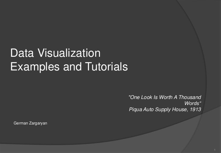 "Data VisualizationExamples and Tutorials                         ""One Look Is Worth A Thousand                            ..."