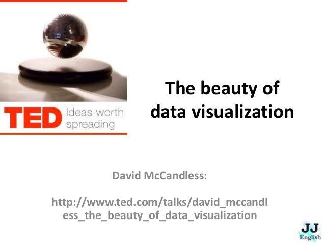 The beauty of data visualization David McCandless: http://www.ted.com/talks/david_mccandl ess_the_beauty_of_data_visualiza...