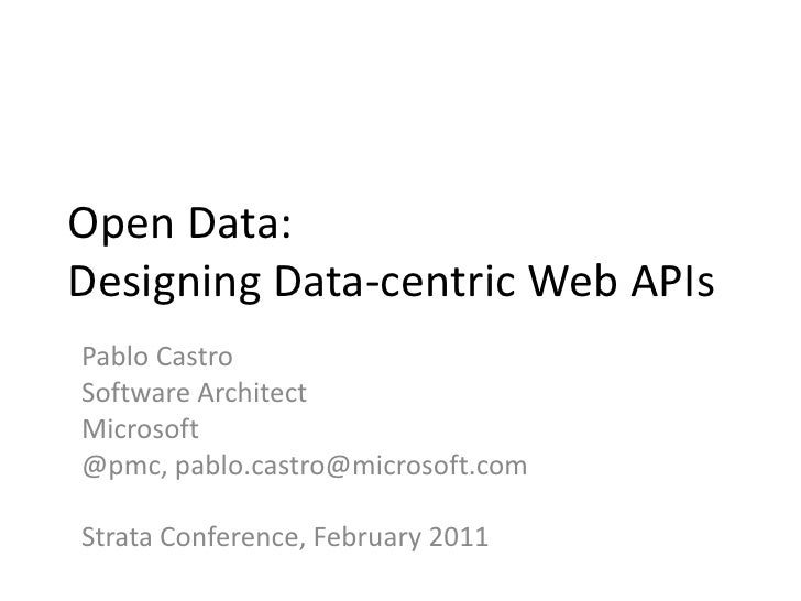 Open Data: Designing Data-centric Web APIs