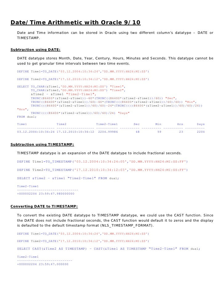Oracle Date Functions
