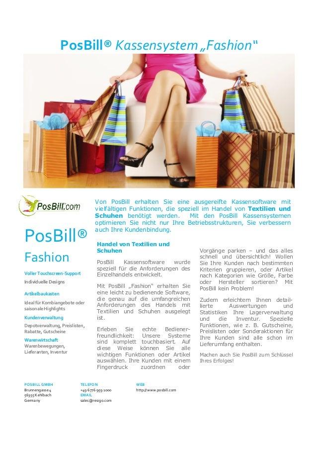 "PosBill® Kassensystem ""Fashion""  PosBill® Fashion Voller Touchscreen-Support Individuelle Designs Artikelbaukasten Ideal f..."