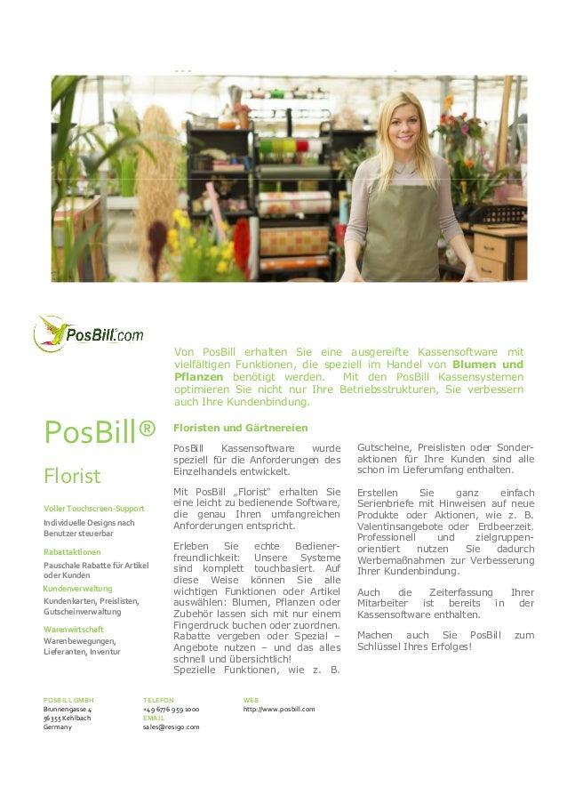 """PosBill® Kassensystem """"Florist""""  Von PosBill erhalten Sie eine ausgereifte Kassensoftware mit vielfältigen Funktionen, die..."""