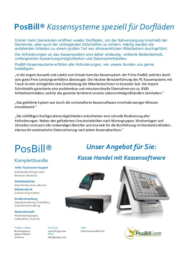 PosBill Kassensysteme speziell für Dorfläden
