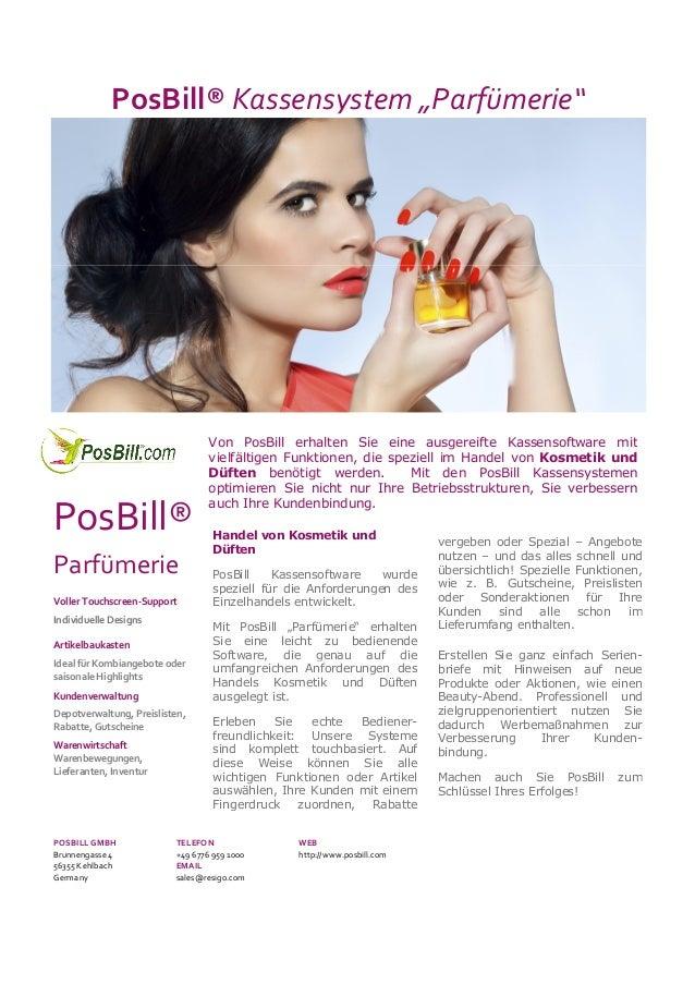 "PosBill® Kassensystem ""Parfümerie""  PosBill® Parfümerie Voller Touchscreen-Support Individuelle Designs Artikelbaukasten I..."