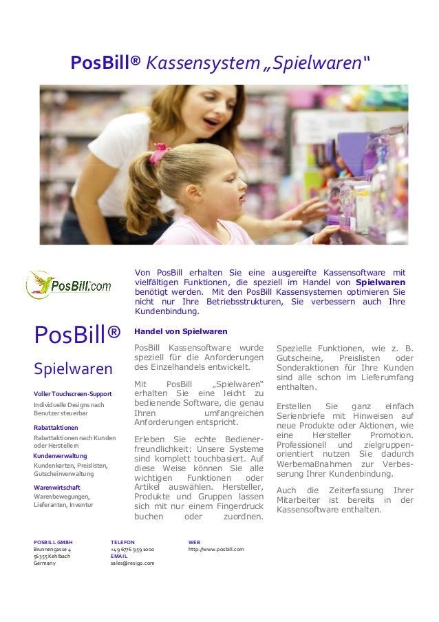 """PosBill® Kassensystem """"Spielwaren""""  Von PosBill erhalten Sie eine ausgereifte Kassensoftware mit vielfältigen Funktionen, ..."""