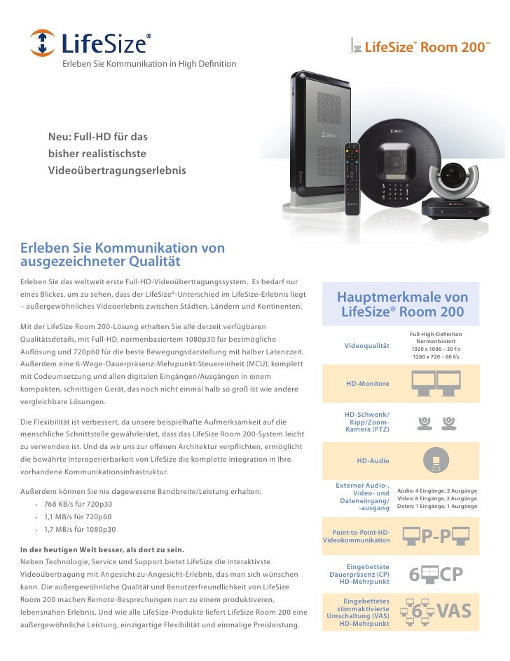 LifeSize® Room 200™             Erleben Sie Kommunikation in High Definition             Neu: Full-HD für das         bish...