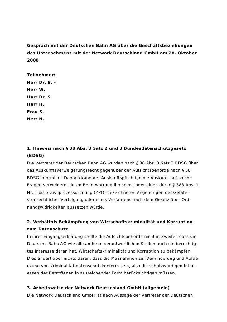 Gespräch mit der Deutschen Bahn AG über die Geschäftsbeziehungen des Unternehmens mit der Network Deutschland GmbH am 28. ...