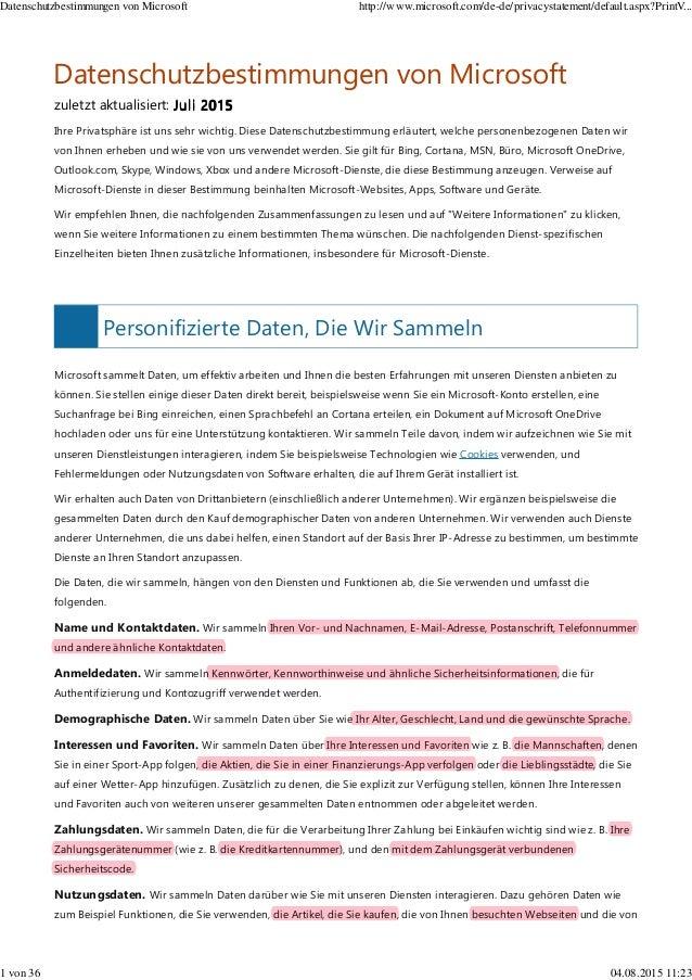 Personifizierte Daten, Die Wir Sammeln Microsoft sammelt Daten, um effektiv arbeiten und Ihnen die besten Erfahrungen mit ...