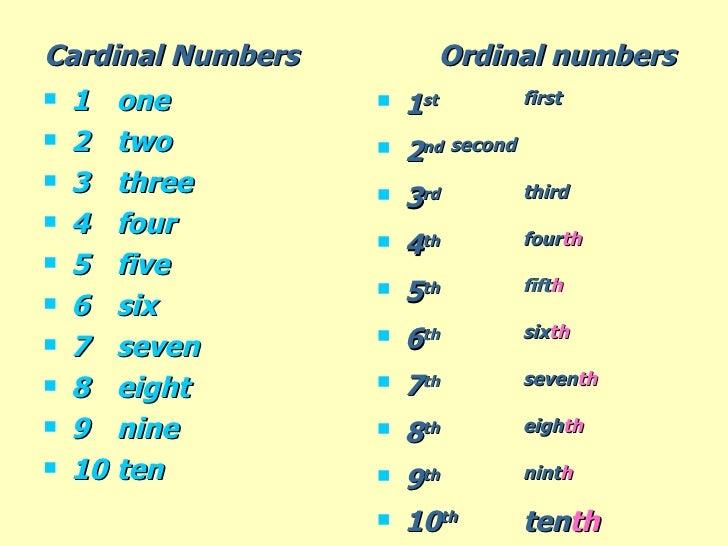Cardinal Numbers Ordinal numbers
