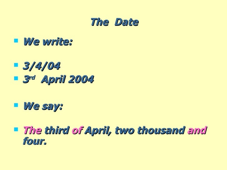 how to write dates