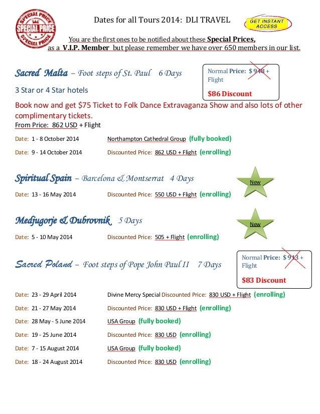 DLI Travel - Dates & prices 2014 in USD