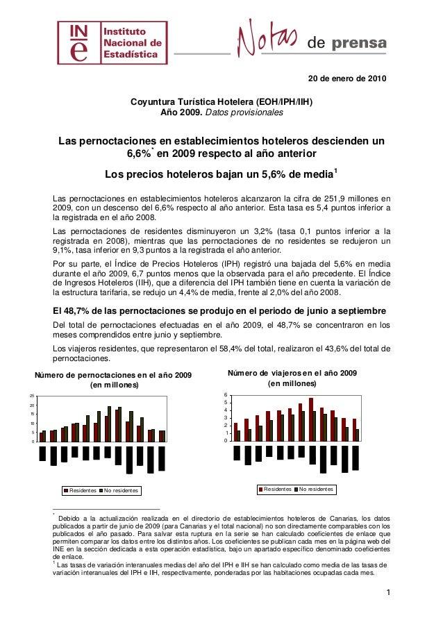 20 de enero de 2010 Coyuntura Turística Hotelera (EOH/IPH/IIH) Año 2009. Datos provisionales Las pernoctaciones en estable...