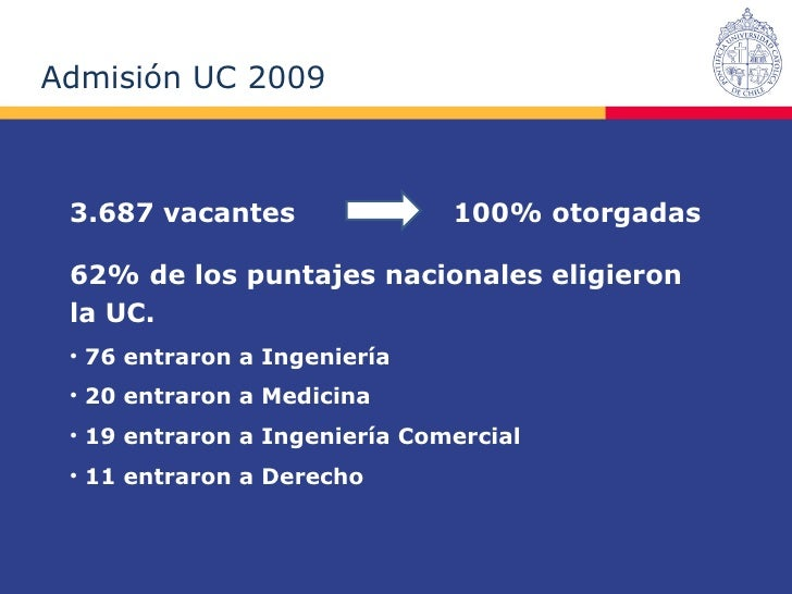 Datos de Admisión 2009 UC