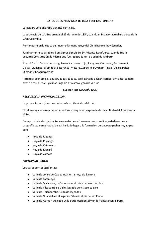 Datos de la provincia de loja y del cantón loja