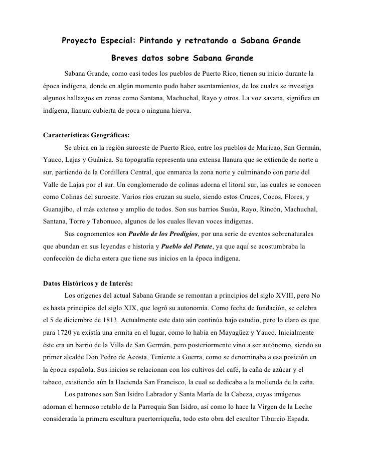 Datos de Sabana Grande