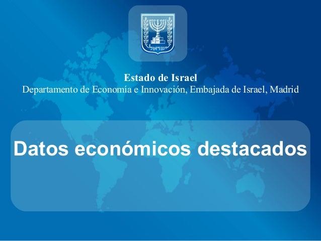 Estado de IsraelDepartamento de Economía e Innovación, Embajada de Israel, MadridDatos económicos destacados
