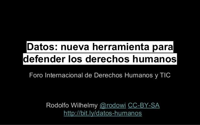 Datos: nueva herramienta para defender los derechos humanos Foro Internacional de Derechos Humanos y TIC Rodolfo Wilhelmy ...
