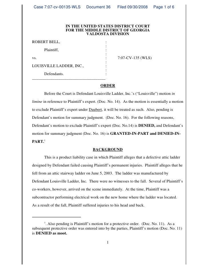 Daubert Order GA Law