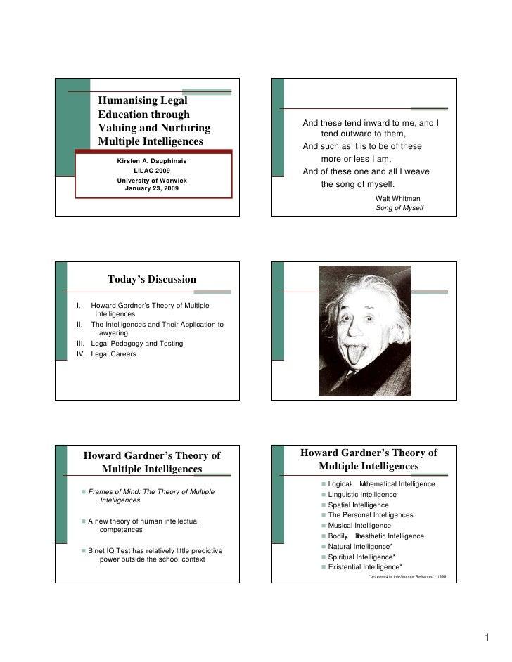 Humanising legal education through valuing and nurturing multiple intelligences