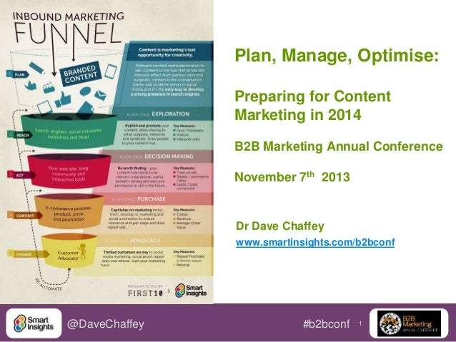 1@DaveChaffey #b2bconf Plan, Manage, Optimise: Preparing for Content Marketing in 2014 B2B Marketing Annual Conference Nov...