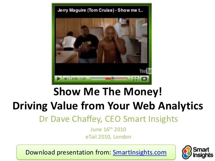 Show Me The Money!Driving Value from Your Web Analytics<br />Dr Dave Chaffey, CEO Smart Insights<br />June 16th 2010eTail ...