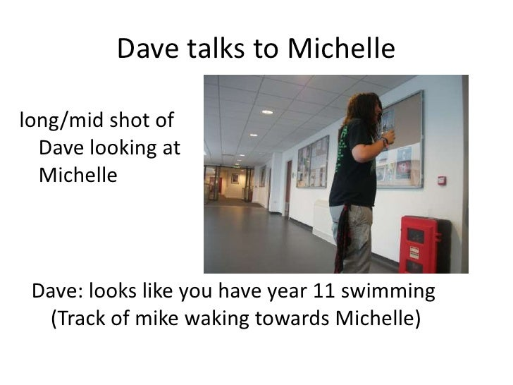 Dave talks to Michelle<br />long/mid shot of Dave looking at Michelle<br />Dave: looks like you have year 11 swimming (Tra...