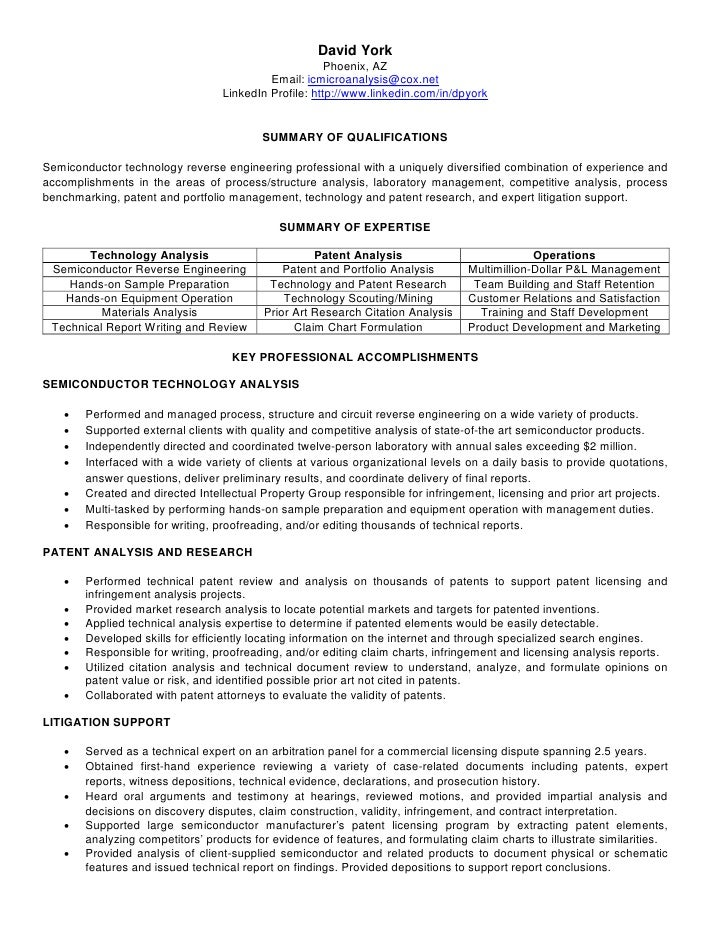 Patent information in resume
