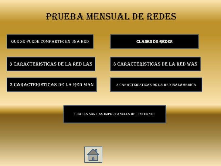PRUEBA MENSUAL DE REDES  QUE SE PUEDE COMPARTIR EN UNA RED                       CLASES DE REDES     3 CARACTERISTICAS DE ...