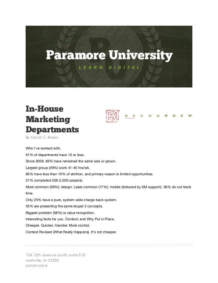David Baker | Paramore University Spring 2012