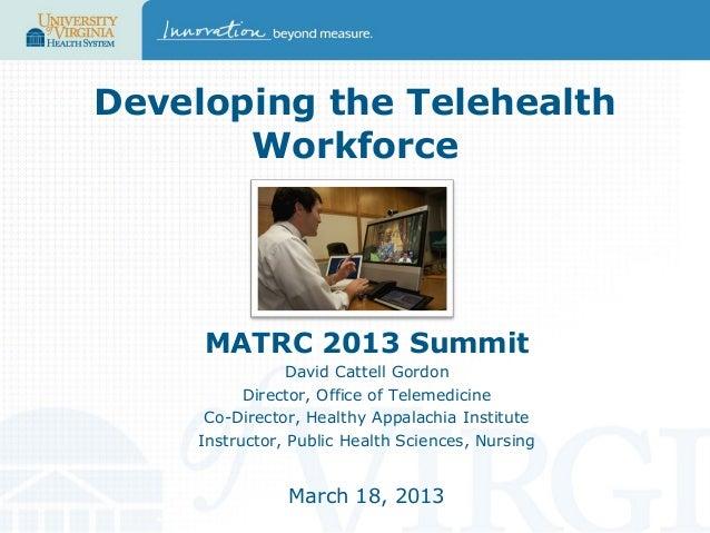 Developing the Telehealth Workforce  MATRC 2013 Summit David Cattell Gordon Director, Office of Telemedicine Co-Director, ...