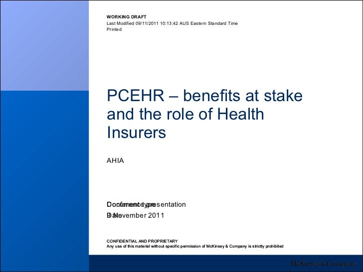 PCEHR – benefits at stake and the role of Health Insurers AHIA 9 November 2011 Conference presentation CONFIDENTIAL AND PR...
