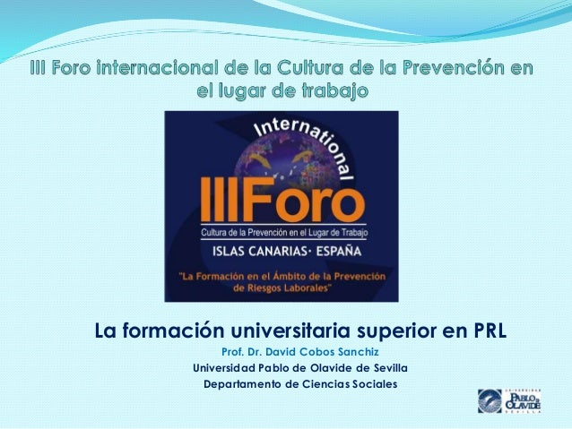 La formación universitaria superior en PRL Prof. Dr. David Cobos Sanchiz Universidad Pablo de Olavide de Sevilla Departame...
