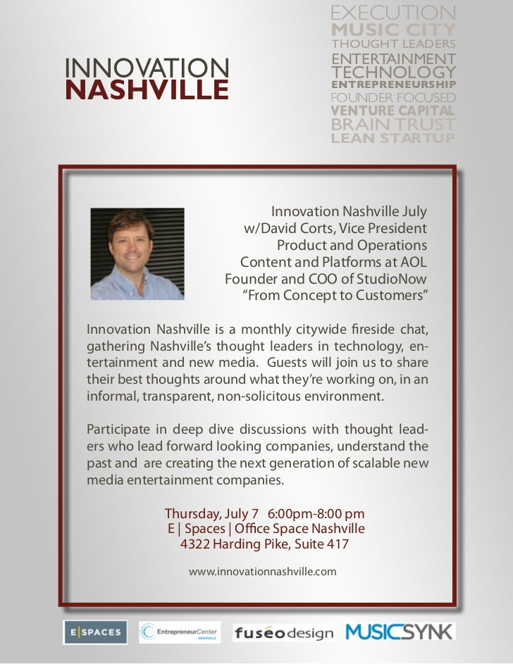 Innovation Nashville July w/David Corts, Vice President, Product and Operations, Content Platforms at AOL, Founder and COO of StudioNow