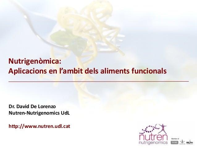 Aproximació a la nutrigenòmica i aplicacions en l'àmbit dels aliments funcionals / NUTREN-Nutrigenomics, David de Lorenzo