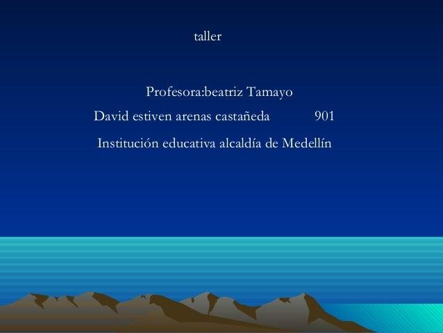 David estiven arenas castañeda 901 Institución educativa alcaldía de Medellín Profesora:beatriz Tamayo taller