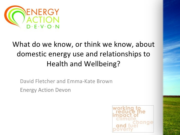 'What do we know, or think we know, about domestic energy use and relationships to health and well-being?: David Fletcher