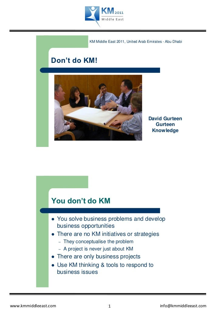 KM Middle East 2011, United Arab Emirates - Abu Dhabi                 Don't do KM!                                        ...