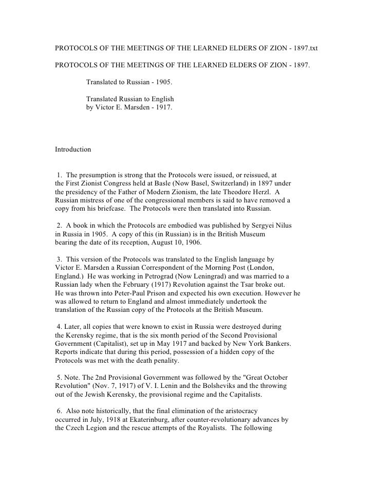 PROTOCOLS OF THE MEETINGS OF THE LEARNED ELDERS OF ZION - 1897.txt  PROTOCOLS OF THE MEETINGS OF THE LEARNED ELDERS OF ZIO...