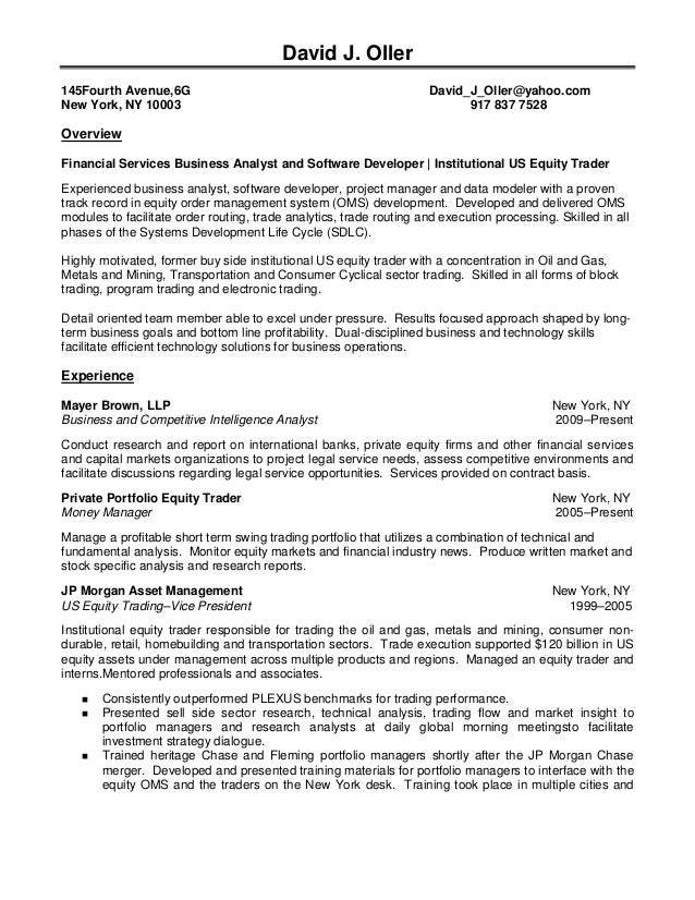 equity sales trader resume sample cover letter sales trading - Sample Resume Equity Sales Trader