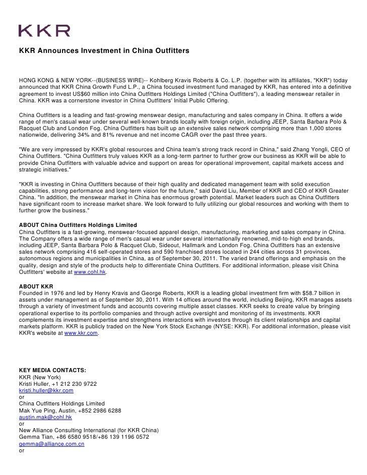 David Liu KKR Investment China Announcement
