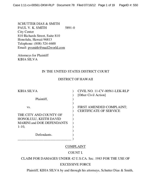 Case 1:11-cv-00561-DKW-RLP Document 78 Filed 07/16/12 Page 1 of 19  PageID #: 550  SCHUTTER DIAS & SMITH PAUL V. K. SMITH ...