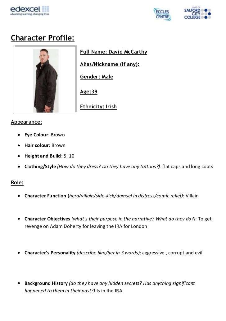 Character Profile:                                  Full Name: David McCarthy                                  Alias/Nickn...