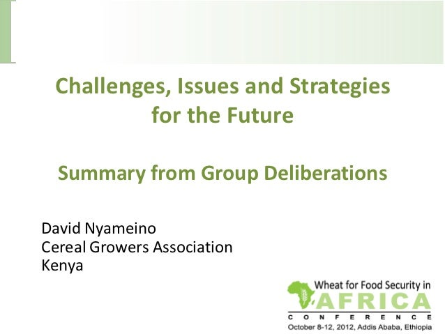 Challenges, Issues and Strategies          for the Future  Summary from Group DeliberationsDavid NyameinoCereal Growers As...