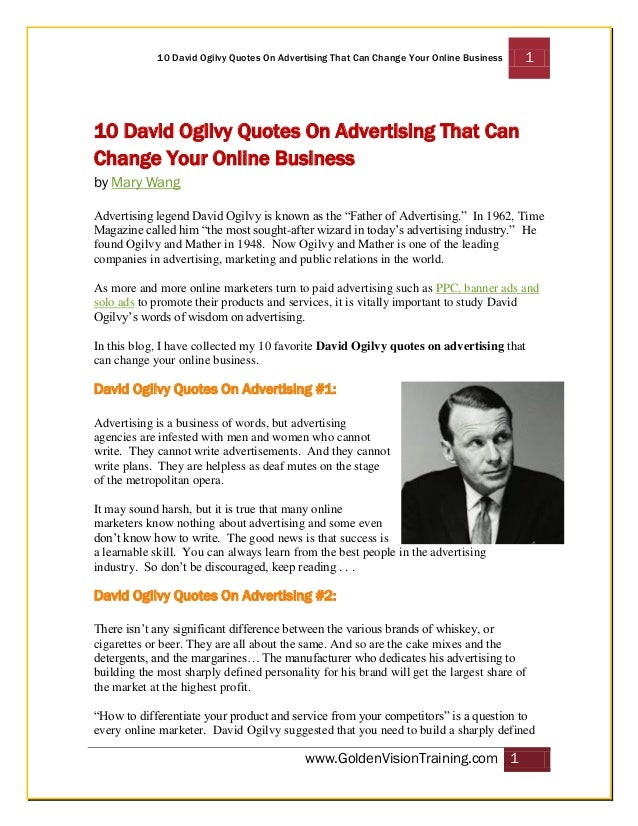 10 David Ogilvy Quotes On Advertising That Can Change Your Online Business  1  10 David Ogilvy Quotes On Advertising That ...