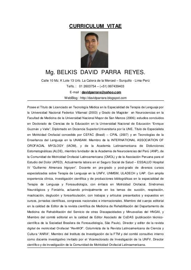 David parra reyes curriculum  vitae actual setiembre 2013