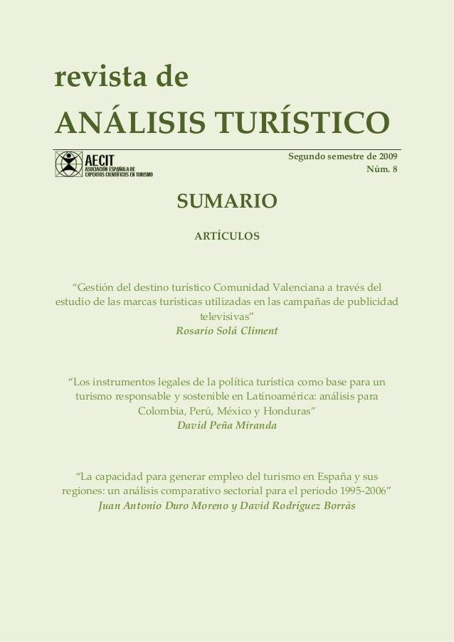 revista deANÁLISIS TURÍSTICO                                                 Segundo semestre de 2009                     ...
