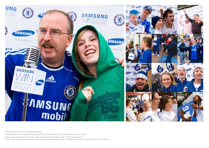 Samsung Win When You're Singing campaign. Experiential promotion (performance stage, leaflets, branded uniforms, mobile st...